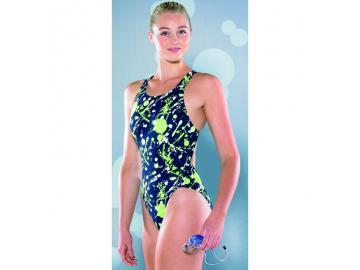 Maru Damen Badeanzug Splosh Pacer Icon Back navy-lime